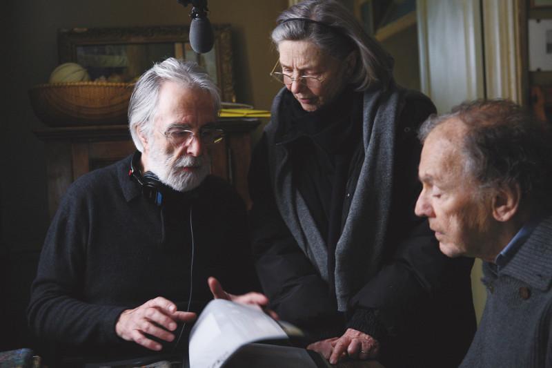 Michael Haneke com Jean-Louis Trintignant e Emmanuelle Riva