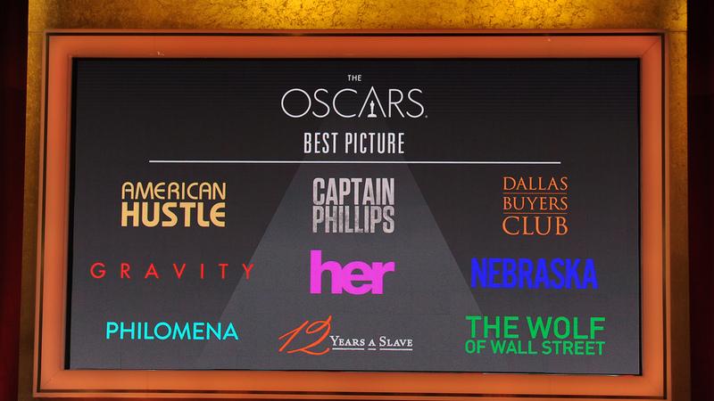 American Hustle, Captain Phillips, Dallas Buyers Club, Gravity, Her, Nebraska, Philomena, 12 Years a Slave e The Wolf of Wall Street