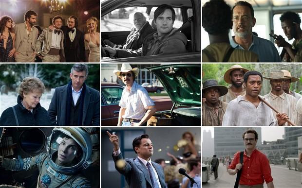 American Hustle, Nebraska, Captain Phillips, Philomena, Dallas Buyers Club, 12 Years a Slave, Gravity, The Wolf Of Wall Street e Her